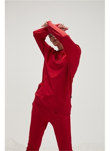 Bad Bear Bad Bear 20.04.12.009-C54 Mono Color Hoodıe Uzun Kol Crımsonred Kadın Kapüşonlu Sweatshirt Kırmızı